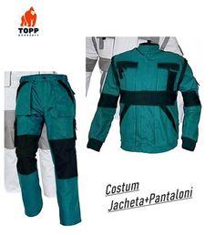 Costum salopeta jacheta + pantalon BiColor verde din bumbac Parachute Pants, Costumes, Fashion, Green, Moda, Dress Up Clothes, Fashion Styles, Fancy Dress, Fashion Illustrations