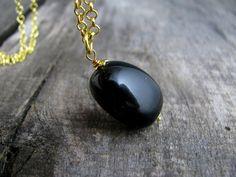 Black onyx pendant necklace Natural onyx  by ZalewskaJewerly