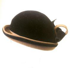 Vintage/felt/black and carmal hat/bowler/formal/cosplay by WifinpoofVintage on Etsy Unique Vintage, Vintage Black, Vintage Ladies, 1930s Hats, Home Goods Decor, Vintage Shops, Riding Helmets, My Etsy Shop, Felt
