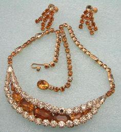 Z Vtg Signed Kramer New York Rhinestone Bib Necklace Earrings Demi Parure Set | eBay