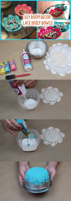 DIY Lace Doily Bowl - Perfect DIY to hold jewlery from Tanner Bell: could put these doilies inside the jewelry holder to add little separation bowls Kids Crafts, Crafts To Make, Easy Crafts, Craft Projects, Arts And Crafts, Diy Lace Projects, Craft Ideas, Crafts Cheap, Weekend Projects