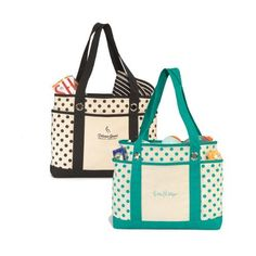 This preppy polka dot canvas tote bag pairs fashion with function. Features front slash pocket and dual side pockets perfect for toting accessories, water bottles, or baby bottles. Stylish grommet details and broad shoulder straps provide added appeal.