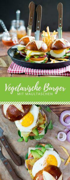 Ein leckeres Burger Rezept für eine vegetarische Variante mit Maultaschen, Avocado und Spiegelei. So lecker!