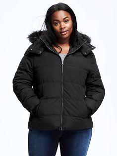 Faux-Fur Trimmed Plus-Size Frost-Free Jacket