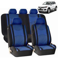 Unique Two Tone Premium Blue On Black Synthetic PU Leather Bench Seat Cover Color