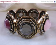 Vintage Pink Purple Clear Faceted Cabachon Antiqued Gold Tone Rhinestone Link Stretch Statement Bracelet Jewelry Gift