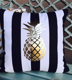 GOLD FOIL PINEAPPLE on black & white stripes pillow with insert