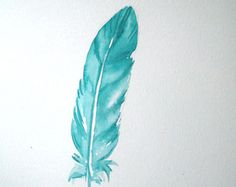 Watercolor feather feather art feather painting by VeselinaArt