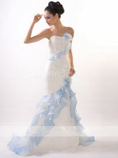 Alternative Wedding Dress –Trish [just the right amount of blue ruffle. Integration of flamenco inspiration is well balanced.]