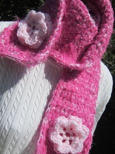 Pink Crocheted Scarf in Dark and Light Pink by crochetedbycharlene, $24.00