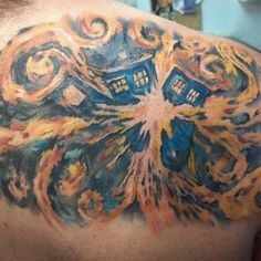 Another van Gogh tattoo from the DW, the TARDIS exploding. This tattoo is good, not as solid as the other one, but still a cool idea, and I like the placement on the body.