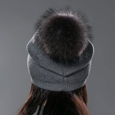 URSFUR Unisex Autumn Knit Wool Beanie Cap with Fur Ball Pompom Womens  Winter Hat Winter 34832ff392a1