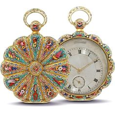 """coisasdetere: """"  Swiss gold and enamel open-face key wound pocket watch, made…"""