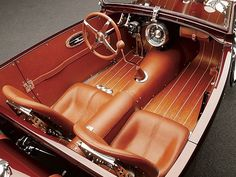 Luxury, cognac leather with hardwood floors for car interior