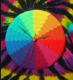 Rainbow crochet clock