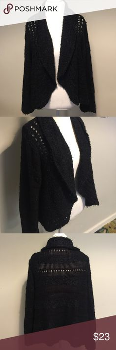 Black Sweater Pre-Owned: good condition. Very cute black raggity sweater by Style & Co. Size Large. A great, comfy throw on sweater on the go! Style & Co Sweaters Shrugs & Ponchos