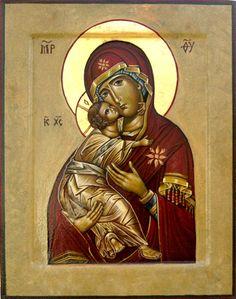 Theotokos of Vladimir, hand-painted