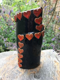Pottery heart flower vase