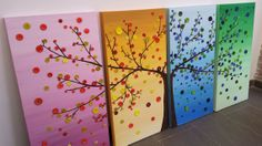 Button tree painting by Cristalmosaico on Etsy, €220.00