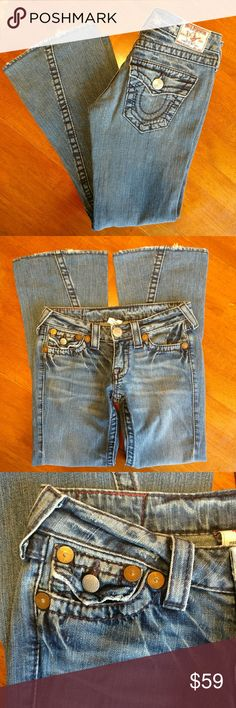"True Religion ""Joey Big T"" Flared Jeans CUTE! True Religion ""Joey Big T"" Medium-wash flared jeans with factory ""destructed"" look and some whisker details on the denim.  Signature twisted inseam and button flap pockets.  Great, gently used condition. Inseam: 29.5"" True Religion Jeans Flare & Wide Leg"
