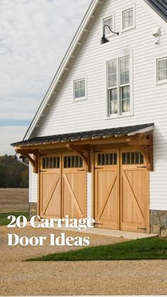 Garage House, Dream Garage, Carriage Doors, Modern Farmhouse Plans, Modern Barn, Wooden Doors, Fixer Upper, Curb Appeal, Architecture Design