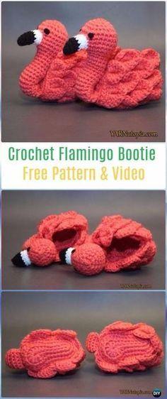 Crochet Flamingo Baby Booties Shoes Free Pattern -Crochet Baby Booties Slippers Free Patterns
