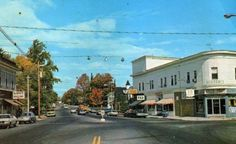 View up Washington Street near Fiskes General Store and Holliston Superette, Holliston, MA