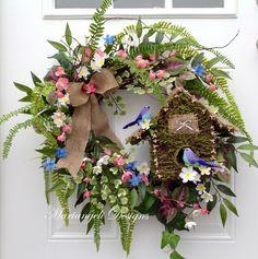 Spring Wreath, Easter Wreath, Mother's Day Wreath, Blue bird wreath, fern wreath, front door wreath, woodland wreath, birdhouse wreath by MariangeliDesigns on Etsy#springwreath#easter#MothersDay#woodlandwreath#frontdoor#birdhouse#Easterwreath#ferns#bluebirds