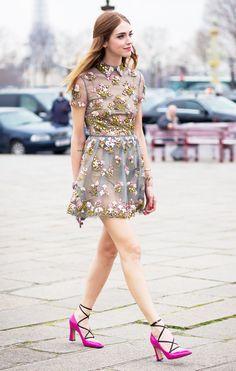 flower dress pink shoes chiara ferragni