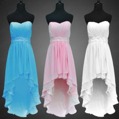 Graduation Prom Gown Party Ball Short Wed Evening Dress New Bridesmaid Cocktail Strapless Prom Dresses, High Low Prom Dresses, Homecoming Dresses, Bridesmaid Dresses, Graduation Dresses, 8th Grade Dance Dresses, School Dance Dresses, School Dances, Pretty Dresses