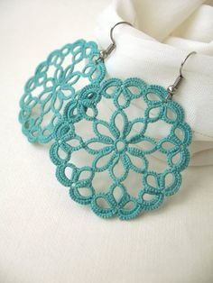 Tatting Lace Jewelry Set Teal Accessories Boho Lace Collar and Earrings Tatted N . - Tatting Lace Jewelry Set Teal Accessories Boho Lace Collar and Earrings Tatted N …, - Tatting Earrings, Tatting Jewelry, Filigree Earrings, Jewellery Earrings, Jewellery Shops, Jewellery Box, Quilling Earrings, Filigree Jewelry, Jewelry Stores
