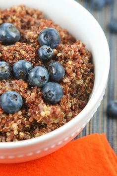 Pip & Ebby - Breakfast quinoa with blueberries ( made with almond milk, honey, vanilla, and cinnamon YUM)