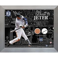 FRAMED 11 Inch X 14 Inch DEREK JETER TIMELINE WITH UNIFORM SWATCH  GAMEUSED MLB AUTHENTIC YANKEE STADIUM GAME USED DIRTMLB AUTHENTICATED -- Want additional info? Click on the image.