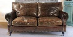 Image result for 2 seater brown leather settee