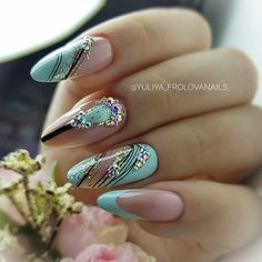 31 + Most Beautiful and Popular Almond Studded Nail Designs, 31 + Most Beautiful and Popular Almond Studded Nail Designs - 1 Almond nails are full of creativity, and patterns and colors suitable for other design.