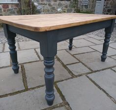 House design Farmhouse Kitchen / Dining Table, Pine, Painted Off Black, Rustic, Refurbished How The Refurbished Kitchen Tables, Refinishing Kitchen Tables, Painted Kitchen Tables, Farmhouse Kitchen Tables, Dining Table In Kitchen, Rustic Kitchen, Farmhouse Ideas, Diy Kitchen, Painted Tables