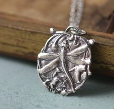Dragonfly Lotus Necklace Pendant Charm Sterling Silver Art Nouveau Handmade