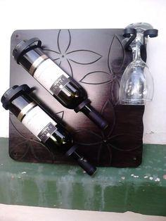 botellero vino 2 botellas soporte2 copa artesanal mdf hierro