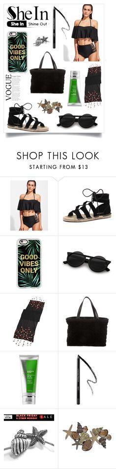 """Black Ruffle Cutout Bikini Set-SheIn"" by stella-kar ❤ liked on Polyvore featuring Bonbons, Casetify, Echo, Chanel and Cane + Austin"