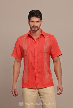 Wedding Summer shirt for the grooms and groomsmen. Trendy Mens Fashion, Men's Fashion, Guayabera Shirt, Slim Fit Dress Shirts, Men's Wardrobe, Summer Shirts, Men Looks, Men Casual, Casual Styles