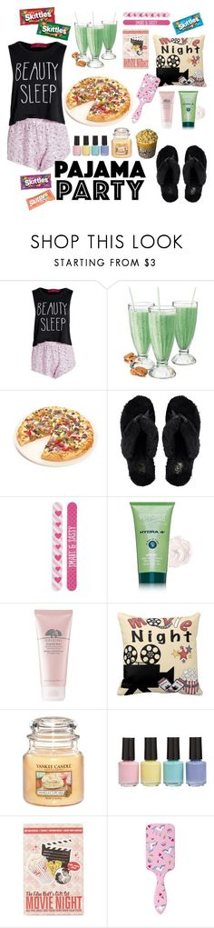 """Pajama Party"" by fangirlral ❤ liked on Polyvore featuring Boohoo, Fox Run, UGG Australia, Simple Pleasures, Repechage, Origins, BP., Topshop and Forever 21"