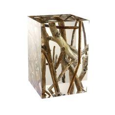 Wood + Lucite Stool