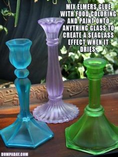 Painting Glass Colours DIY- Mix Glue with food colouring and paint to make anything glass have a seaglass effect.