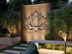 Lotus Flower Large Outdoor Metal Wall Art Garden Sculpture | Etsy Modern Outdoor Wall Art, Modern Backyard, Outdoor Walls, Backyard Ideas, Silver Wall Art, Silver Walls, Large Metal Wall Art, Metal Garden Wall Art, Word Art