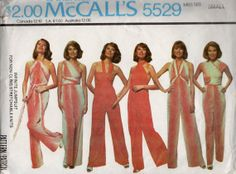McCalls 5529 1970s  Misses  INFINITE  Wrap and Tie Jumpsuit Pattern for stretch knits womens vintage sewing pattern by mbchills
