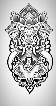 Tattoo elephant color drawings 39 trendy ideas – My CMS Buddha Tattoos, Leg Tattoos, Body Art Tattoos, Sleeve Tattoos, Tattoo Neck, Henna Tattoos, Mandala Tattoo Design, Tattoo Designs, Animal Mandala Tattoo