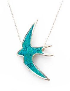 Turquoise Animal Design - Handmade Swallow Bird Pendant - Millefiori Polymer Clay Jewelry for Women - FREE SHIPPING