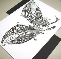 Two Feathers . Original Pen Drawing . Feather Art by blueskybeads, $45.00