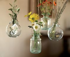 hanging with flowers in  jars