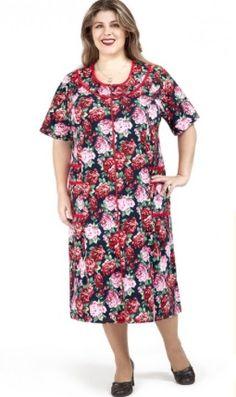 Женский халат на молнии хлопок большого размера (64- 66) | pravtorg.ru Short Sleeve Dresses, Dresses With Sleeves, Women's Summer Fashion, Casual, Style, Sleeve Dresses, Stylus, Random, Casual Clothes